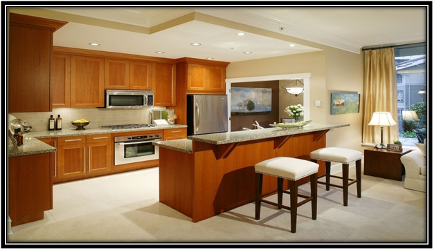 steel platform and wooden cabinets
