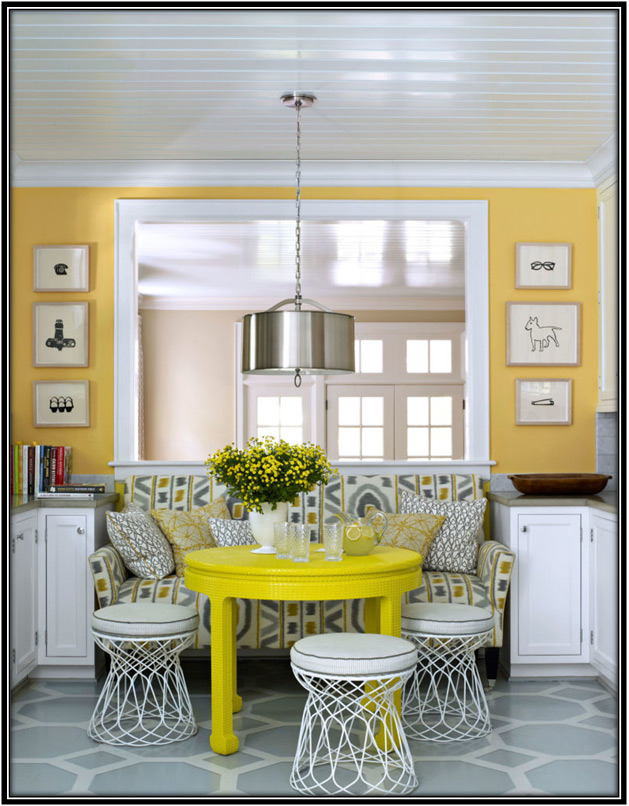combination of yellow and grey on wall