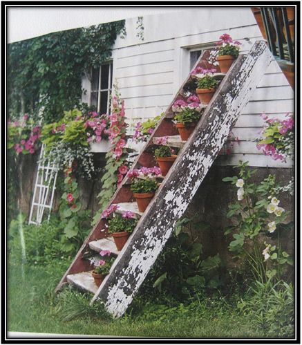 Ladder Flower Pots Home Decor Ideas