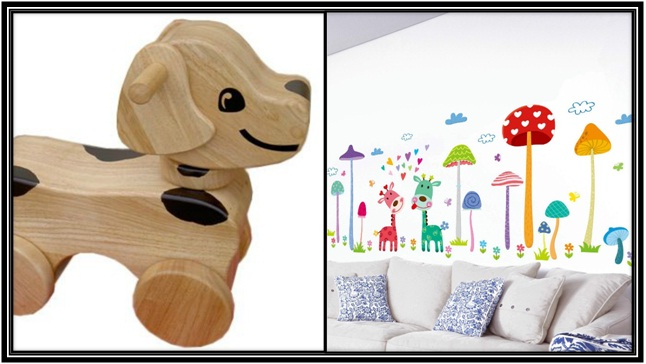 old fashioned wooden toy and painting for kids room