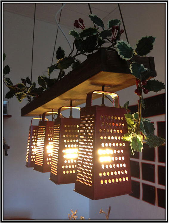 Old Graters Into Lamp Home Decor Ideas
