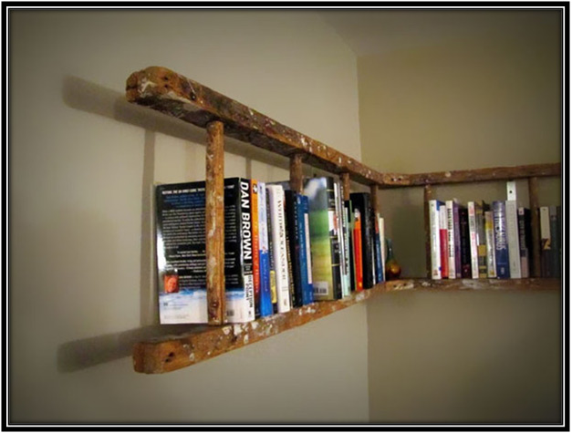 Old Ladder Into Bookshelf Home Decor Ideas