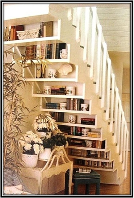 Book Collection Under The Stairs Home Decor Ideas