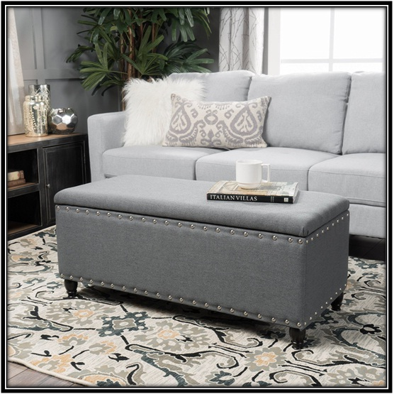 Fabric Storage Ottoman for the perfect living room - home decor ideas