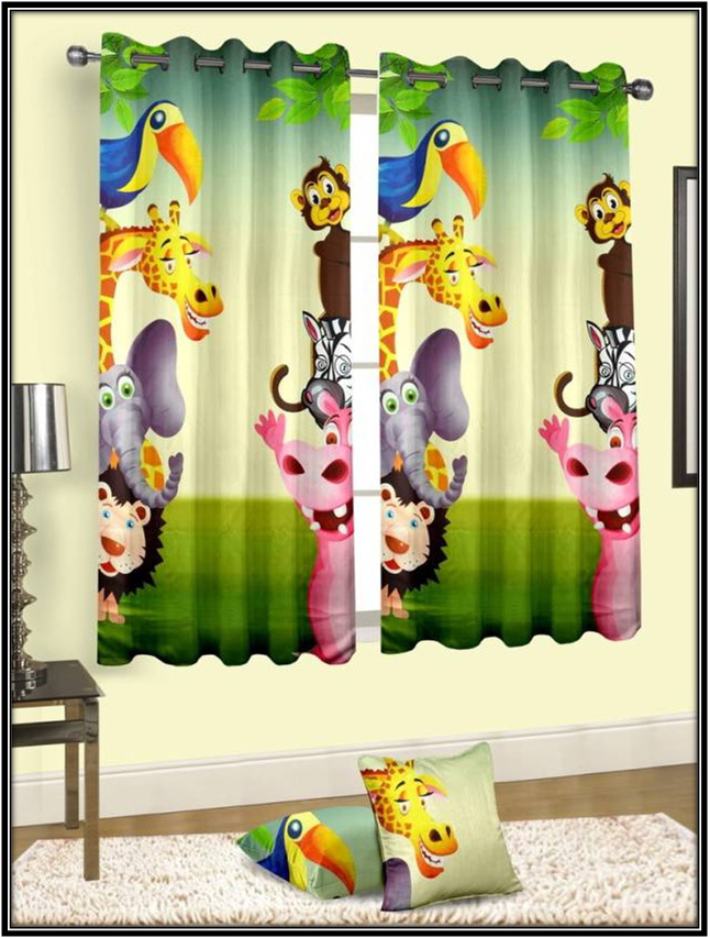 Multicolour Window Curtain With Animal Design Home Decor Ideas