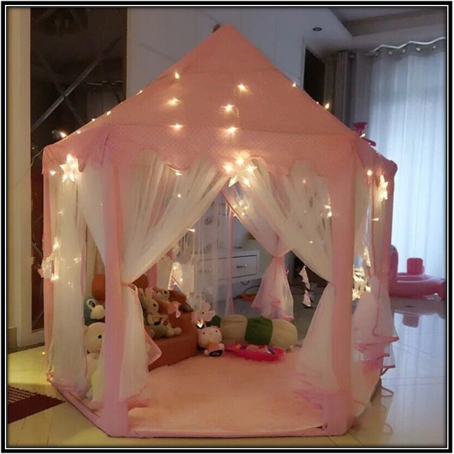 Pink Hexagon Princess Castle Kids Room Decoration Home Decor Ideas