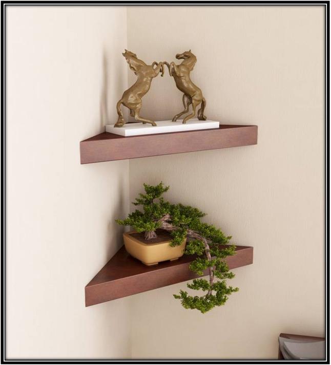 Triangular Wooden Shelf Home Decor Ideas
