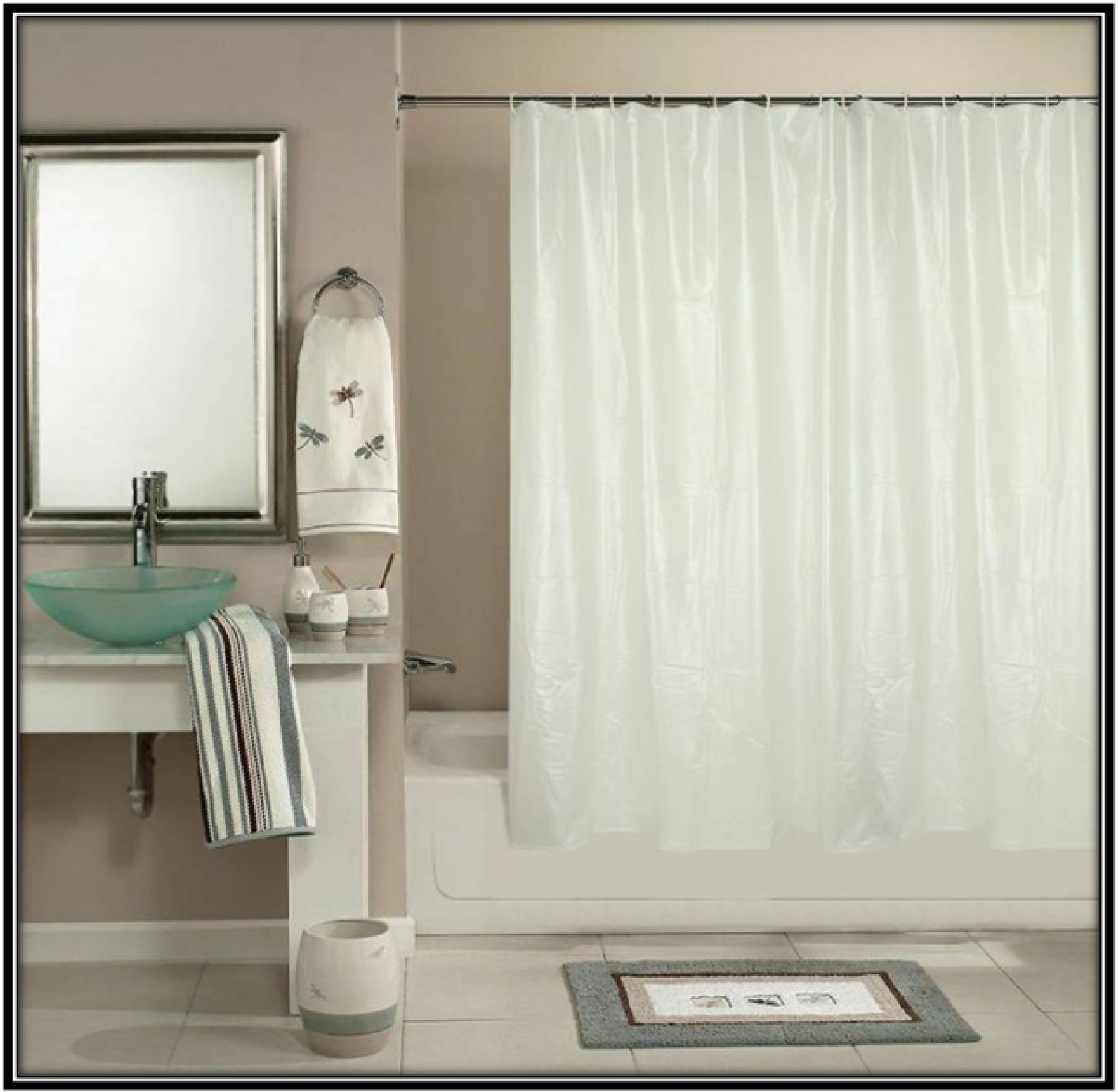 White Self Design Shower Curtain for bathroom - home decor ideas