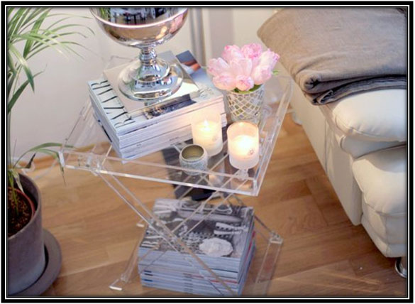 Foldable Glass Side Table Home Decor Ideas