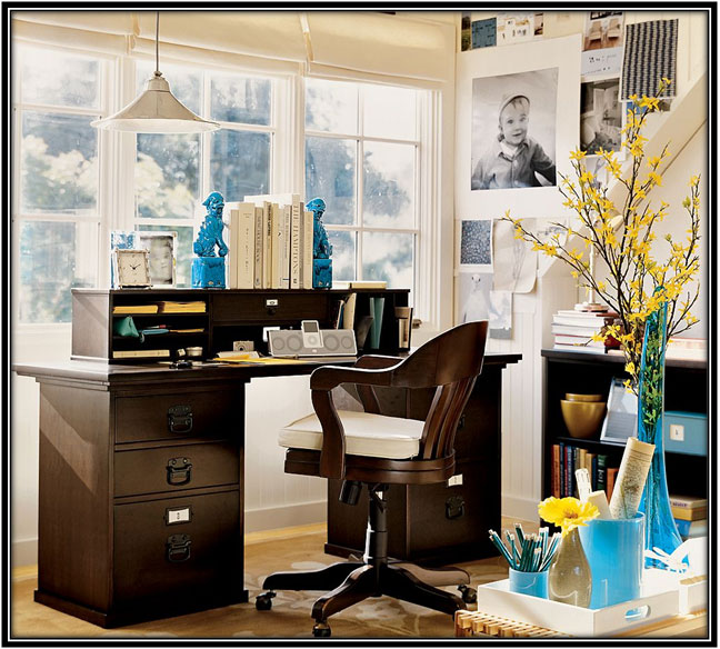 For A Colourful, Refreshing Corner Home Office Decoration Ideas