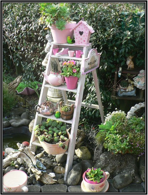 A Ladder Stand Garden Decoration Ideas Home Decor Ideas