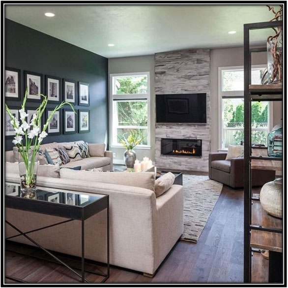 Light And Dark Color Combination On The Walls Living Room Decoration Home Decor Ideas