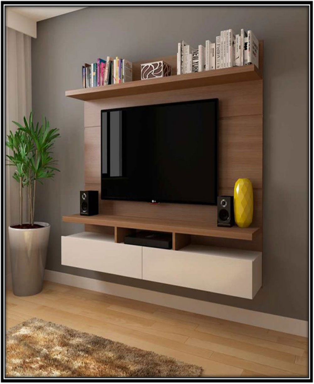 TV corner with slabs and drawers-Home decor ideas