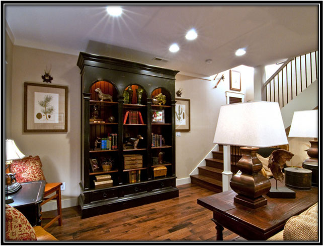 Basement Decorated With Memorabilias Basement Decor Ideas