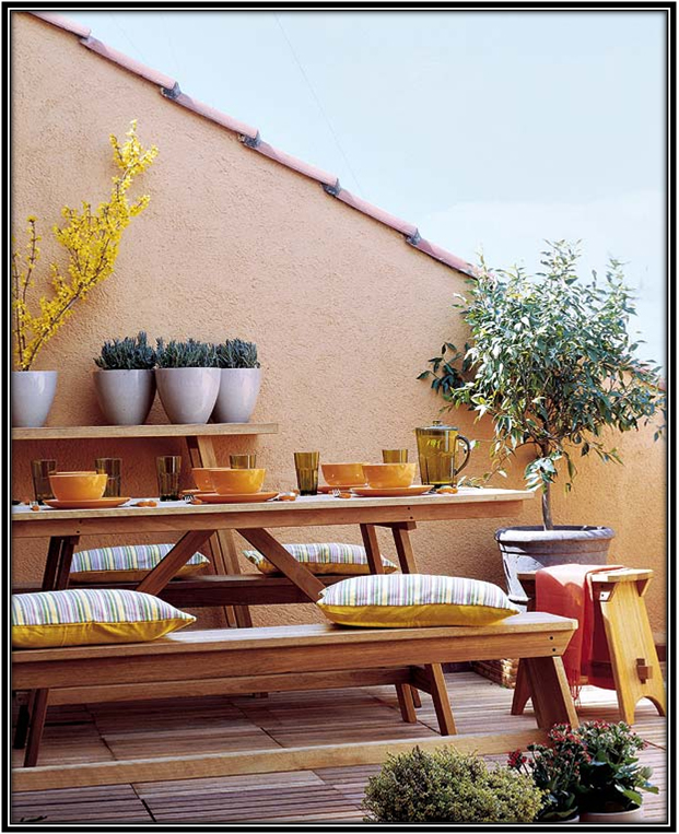 Bench Seating On Terrace Terrace Decoration Ideas