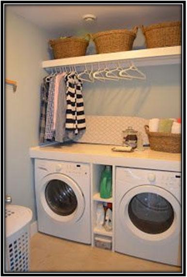 Simple Crisp Laundry Area Decoration Ideas