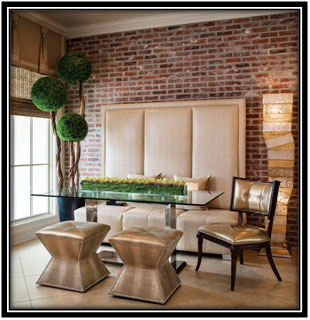 Wooden Brick Wall In Dining Area Home Decor Ideas