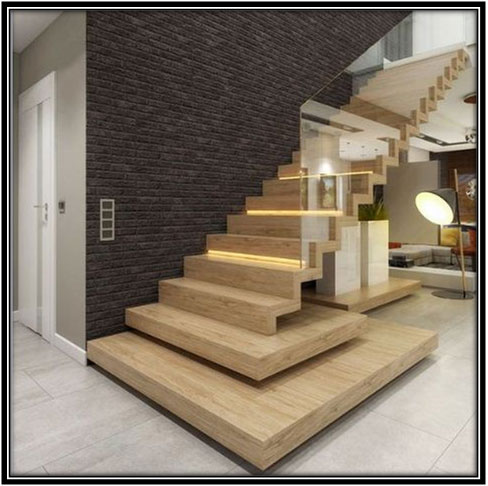 Wooden Stairs With Brick Wall Home Decor Ideas