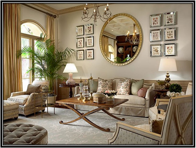 Classic Round Mirror With Golden Frame Interior Decorating Ideas