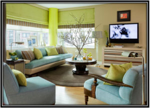 Combination Of Blue And Green Home Interior Design